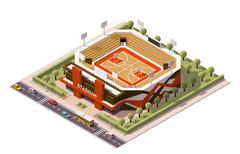 Vector isometric basketball arena - stock illustration