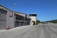Saint tropez Airport runway Stock Photos