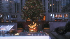 Snow Falling At Rockefeller Center Ice Skating Rink Christmas Winter 2015 4K Stock Footage