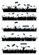Cheering or Protesting Crowd Estonia - stock illustration