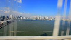 view on board rainbow bridge odaiba tokyo japan - stock footage