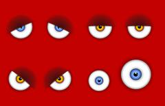 Funny cartoon eyes expressions Stock Illustration