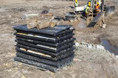 View of the drill core samples - stock photo