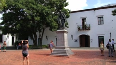 Tourists make photos in Santo Domingo, Dominican Republic. Stock Footage