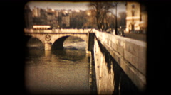 Historic footage of a bridge over the Seine river in Paris Stock Footage