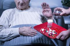 Patient refuse medicines Stock Photos