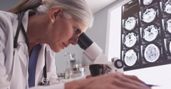 Stock Video Footage of Middle aged female radiologist looking through microscope