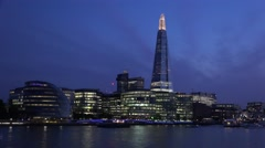 4K Shard Tower in London by Night View, Ships, Boats Cruise in Evening Stock Footage
