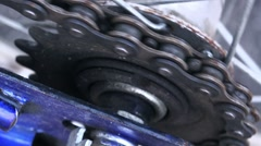 Bicycle gear and chain, macro Stock Footage