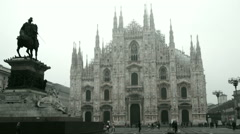 The Milan Cathedral and the statue of Vittorio Emanuele II Stock Footage