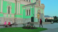 Entrance of Holy Trinity Cathedral. Diveevo.Russia - stock footage