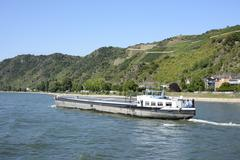 Transport ship at the river Rhine in Germany Stock Photos