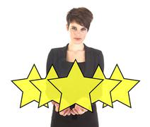 Businesswoman with ranking stars isolated on white background Stock Photos