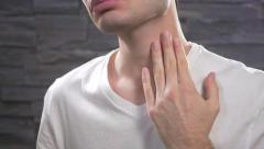 4K Sore Throat Young Men in Pain Stock Footage