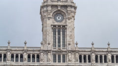 Town Hall building Camara Municipal do Porto timelapse hyperlapse on Liberdade Stock Footage