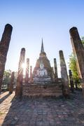 Stock Photo of Ancient buddhist temple ruins in Sukhothai historical park