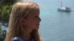 4K Portrait of Happy Thinking Little Girl Looking on Beach, Child at Seashore - stock footage