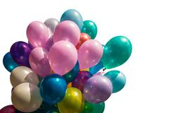 Multi-colored balloons on white Stock Photos