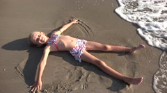4K Child Playing in Sea Sand Beach, Little Girl on Tropical Exotic Sea Coastline Stock Footage