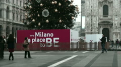 The lower part of the Christmas tree in square of Duomo Stock Footage