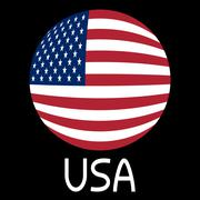 Flag of the United States in globe form and word USA on black background - stock illustration