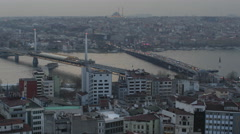 Istanbul panorama in the evening Stock Footage