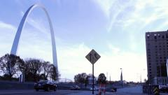 Stock Video Footage of St. Louis Arch And Traffic From Median Time Lapse