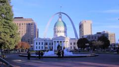 Stock Video Footage of St. Louis City Courthouse Fountain And Arch Downtown Kiener Plaza