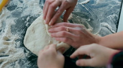 Family makes bread Stock Footage