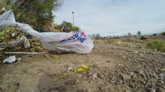 Plastic Bag Trash Blowing In Strong Wind Stock Footage