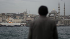 Man looking towards Mosque in Istanbul - stock footage
