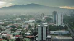Elevated view of cityscape with background of mountain, Costa Rica Stock Footage