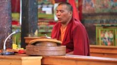 Buddhist monks singing prayers in Thiksey Monastery. Ladakh, India Stock Footage