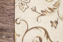 Close Up Detail of Cream Color Fabric Texture - stock photo