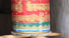 Buddhist prayer wheels in Tiksey monastery with written mantra. India, Ladakh Stock Footage