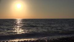 4K Sunset on Beach, Ocean Sea View, Sundown on Seashore, Waves View, Seascape  Stock Footage