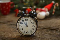 Vintage clock on christmas background Stock Photos