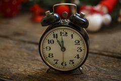 Vintage clock on christmas background - stock photo