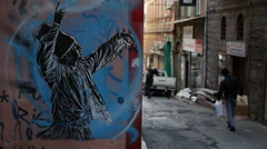 Whirling Dervish graffiti in Istanbul - stock footage