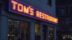 Upper Manhattan Tom's Restaurant Marquee Establishing Shot Night - stock footage