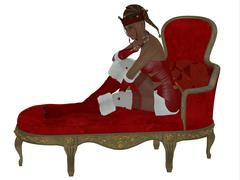 Christmas Woman on Couch Stock Illustration