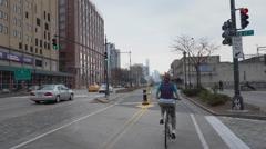 POV Riding Bike Trail in Manhattan Stock Footage