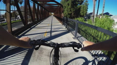 Viewpoint Bicyclist On Truss Bridge On Bike Path- Whittier CA Stock Footage