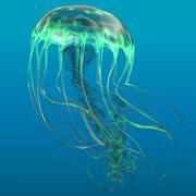 Glow Green Jellyfish - stock illustration