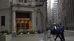 New York Stock Exchange Entrance Establishing Shot Stock Footage
