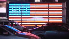 American Flag at Times Square Stock Footage