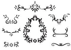 Hand drawn royal element design - stock illustration