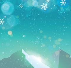 Winter snowfall drop mountain on blue backgrund Stock Illustration
