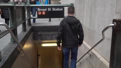 Subway Entrance to J Z Station in Financial District Stock Footage
