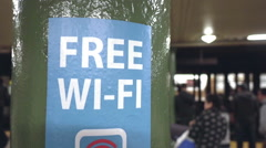 Free Wifi Sign in Manhattan Subway Station Stock Footage